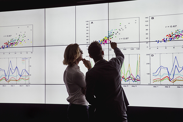 business innovators reviewing data on a large screen